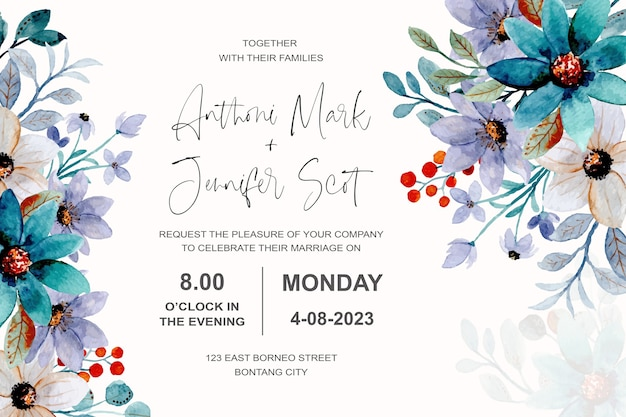Wedding invitation card with floral watercolor Premium Vector
