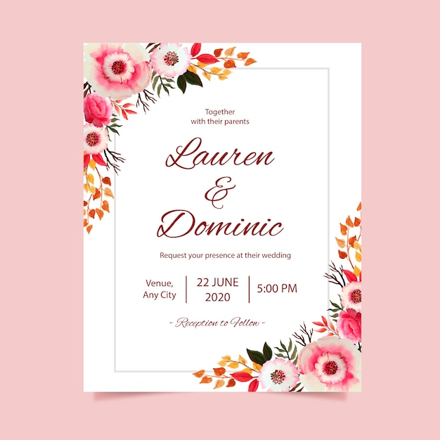Wedding invitation card with flower watercolor frame background Premium Vector