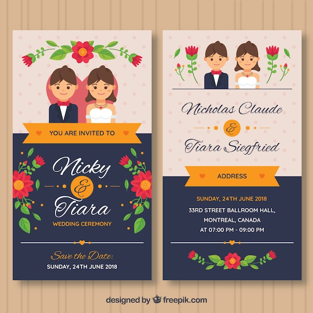 Wedding Invitation Card With Flowers And Couple Vector