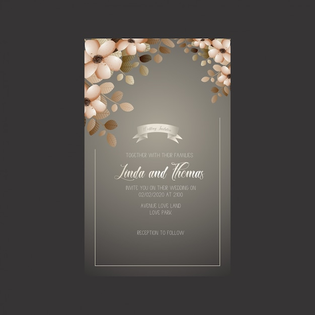 Wedding invitation card with flowers and leaves Premium Vector