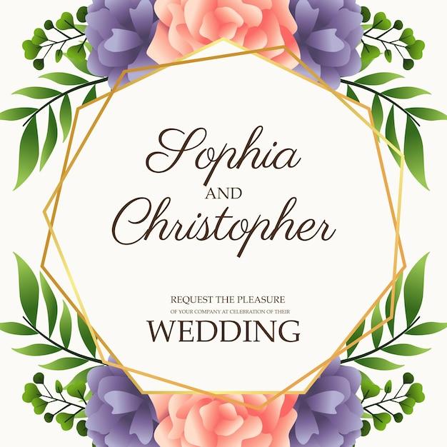 ピンクと紫の花のイラストと結婚式の招待状 Premiumベクター