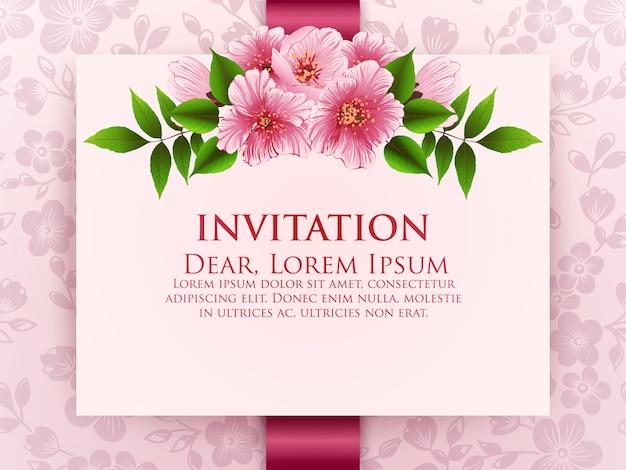 Свадебная пригласительная открытка с цветами Бесплатные векторы