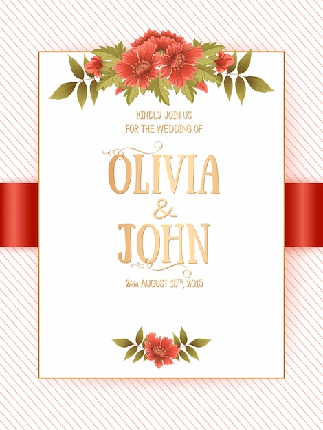 Wedding invitation card with flowers Free Vector