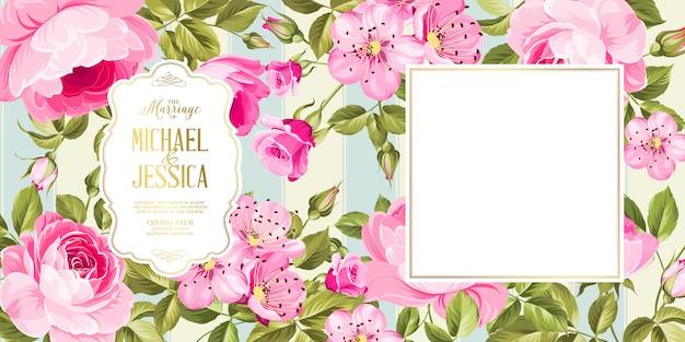 Wedding invitation card with flowers. Premium Vector