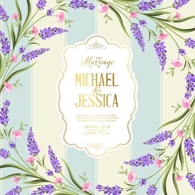 Wedding invitation card with flowers Premium Vector