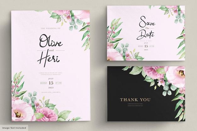 Carta di invito a nozze con fiori Vettore gratuito