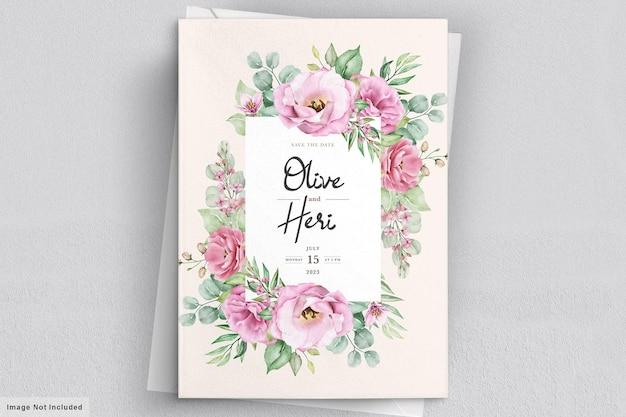 꽃 결혼식 안 내장 카드 무료 벡터