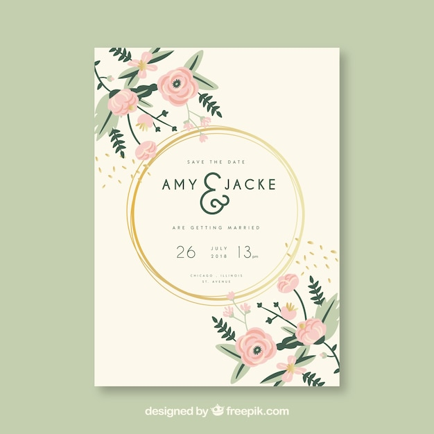 Wedding invitation card with flowers Vector Free Download