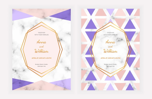 Wedding invitation card with geometric design on the marble texture Premium Vector