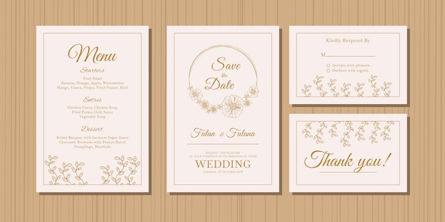 Wedding invitation card with gold doodle sketch outline floral and flower ornamental design style template Premium Vector