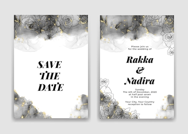 Wedding invitation card with golden black waves shapes and rose Premium Vector