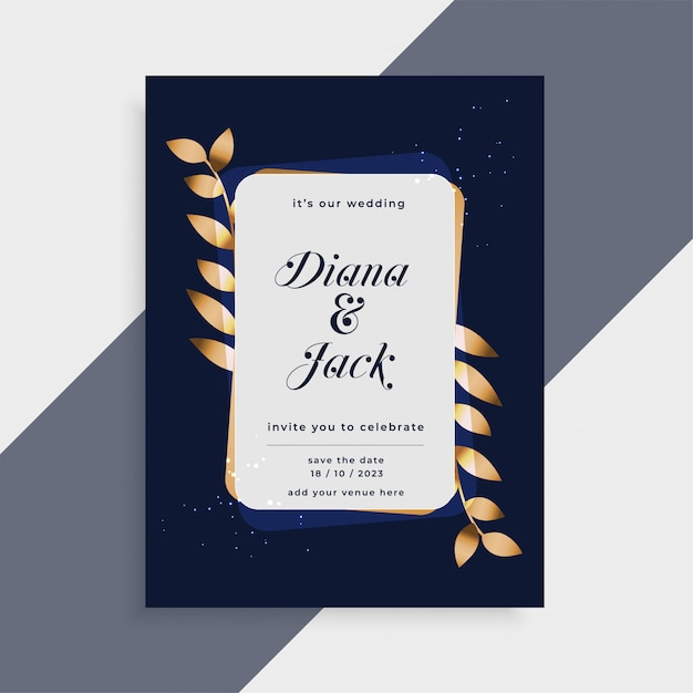 Wedding Invitation Card With Golden Leaves Frame Vector