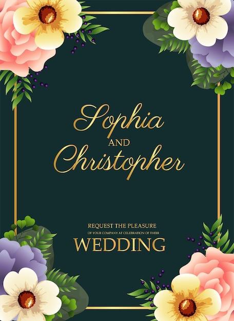 金色の正方形のフレームと花のイラストと結婚式の招待状 Premiumベクター