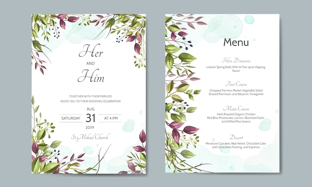 Wedding invitation card with green leaves template Premium Vector