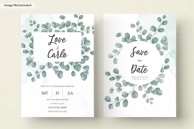 Wedding invitation card with greenery eucalyptus leaves Free Vector