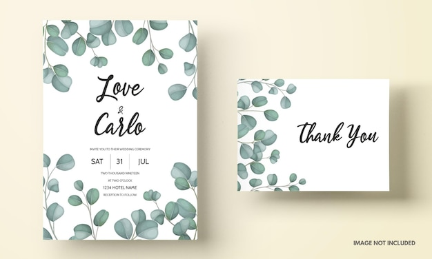 Wedding invitation card with greenery eucalyptus leaves Free Vector
