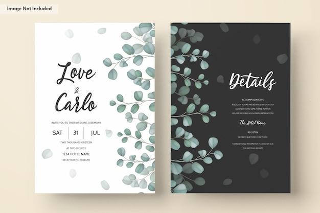 緑のユーカリの葉と結婚式の招待カード 無料ベクター