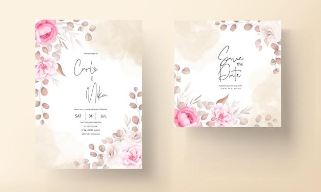 Свадебная пригласительная открытка с ручным рисунком персикового и коричневого цветов Бесплатные векторы