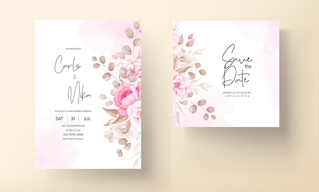 手描きの桃と茶色の花の結婚式の招待カード 無料ベクター