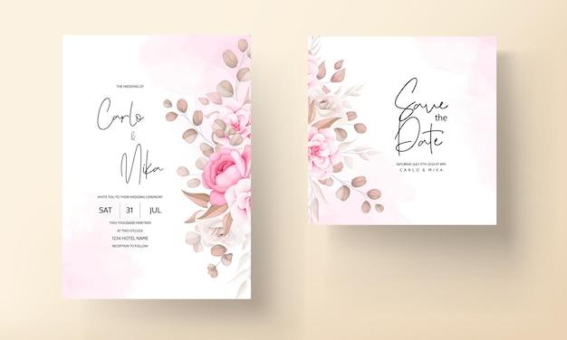 Carta di invito a nozze con mano disegnare pesca e fiori marroni Vettore gratuito