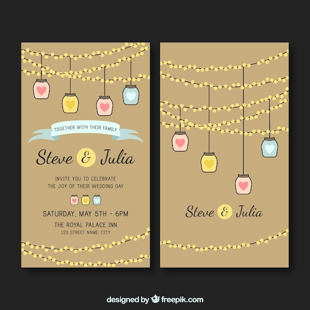 Wedding Invitation Card With Lamps Vector Free Download