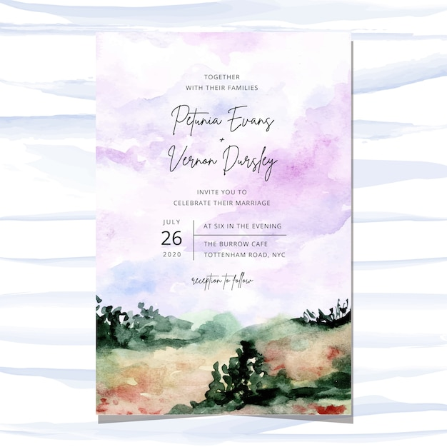 Wedding invitation card with landscape watercolor background Premium Vector