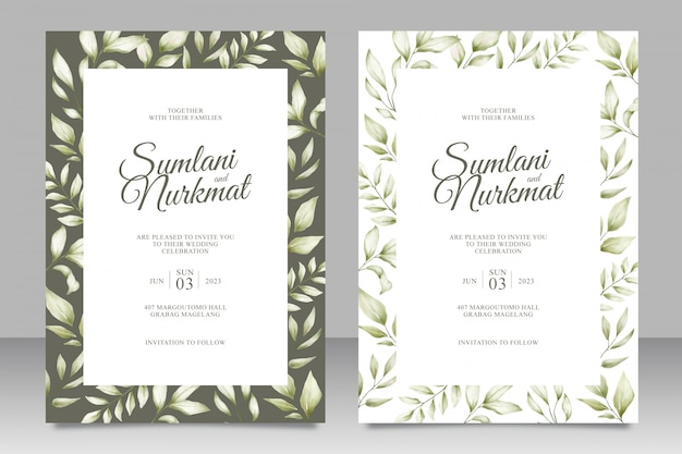 Wedding invitation card with leaves watercolor Premium Vector