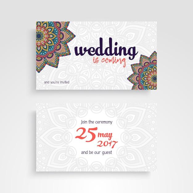 Wedding invitation card with mandala design Vector – Designing an Invitation Card