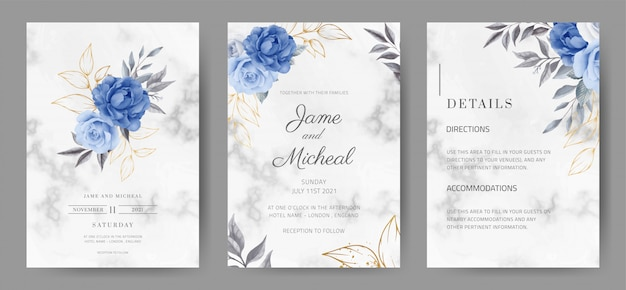 Свадебные приглашения с мраморным фоном. розовый цвет темно-синего цвета. акварель окрашена. набор карт tamplate. Premium векторы