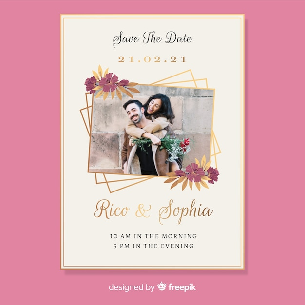 Wedding invitation card with photo Free Vector
