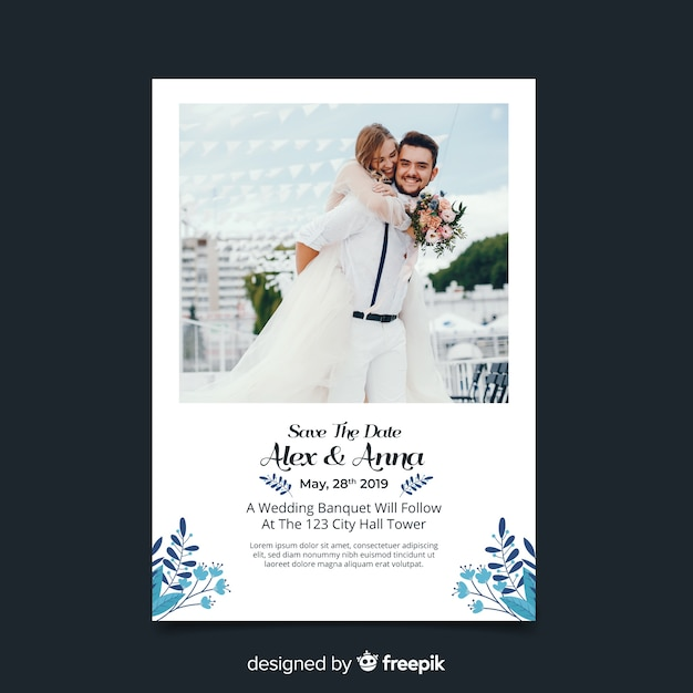 Wedding Invitation Card With Photo Vector Free Download