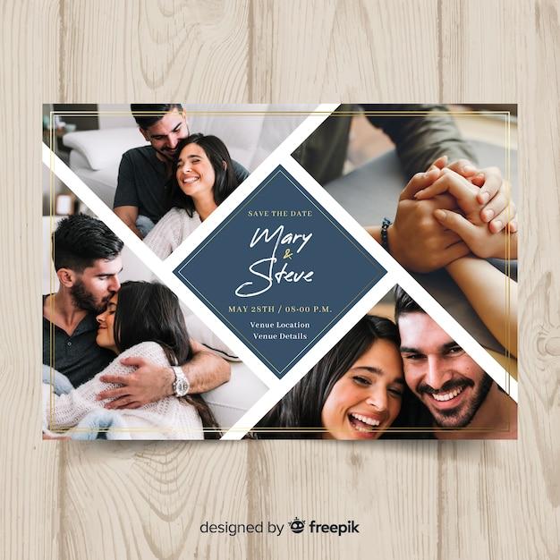 Wedding invitation card with photo Premium Vector