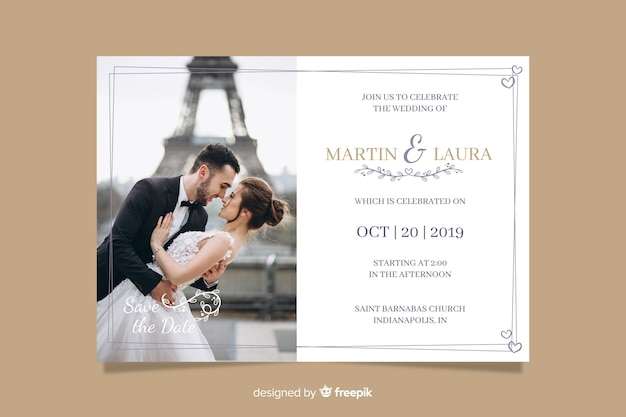 Wedding Invitation Free Download Software: Wedding Invitation Card With Photo Vector