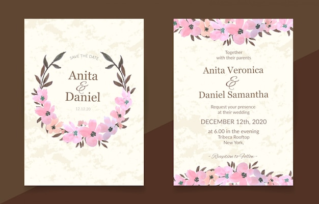 Wedding invitation card with pink floral watercolor set Premium Vector