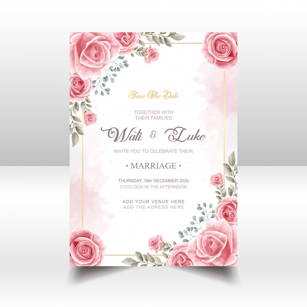 Wedding invitation card with pink rose flower watercolor style Premium Vector