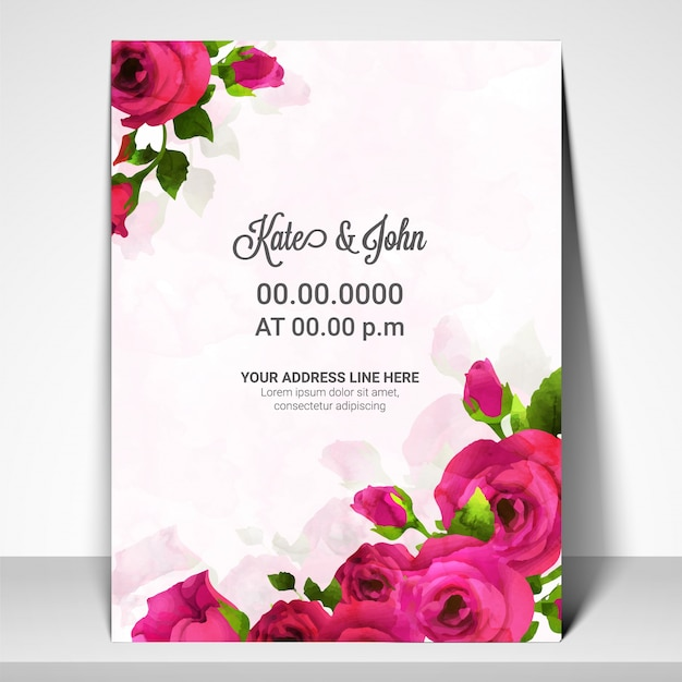 Wedding Invitation Card With Pink Rose Flowers. Vector