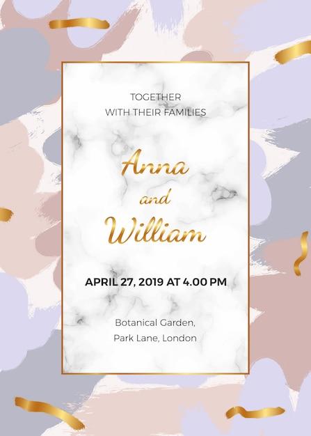 Wedding invitation card with pink Premium Vector