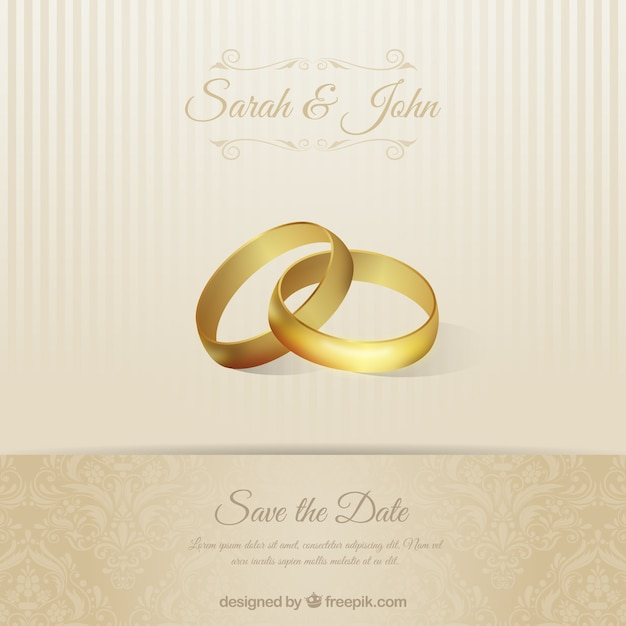 Wedding invitation card with rings Vector Free Download