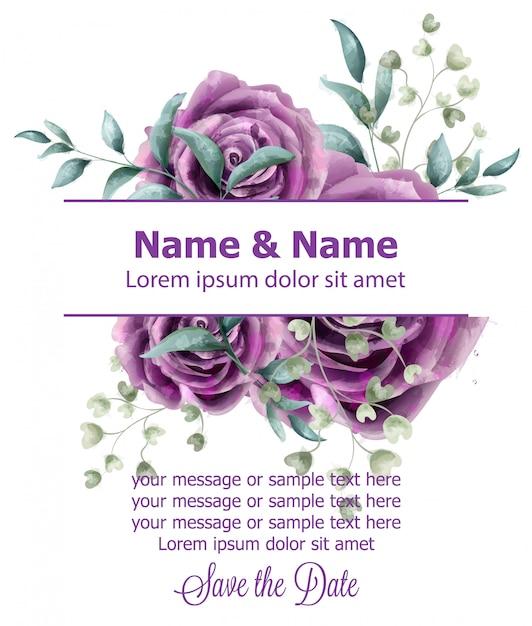 Wedding invitation card with roses watercolor Premium Vector