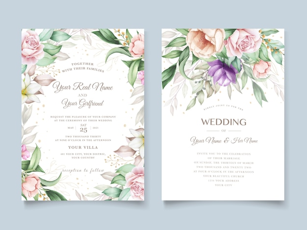 Wedding invitation card with soft green watercolor floral Free Vector