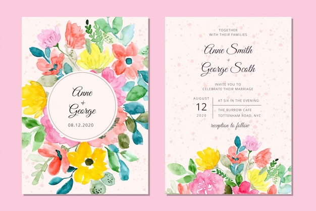 Wedding invitation card with sweet floral watercolor background Premium Vector