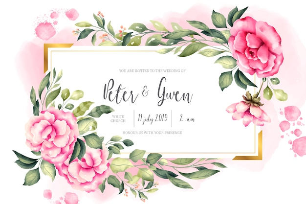 Wedding invitation card with vintage nature Free Vector
