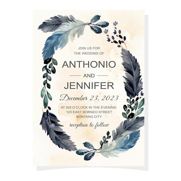 수채화 깃털과 잎 결혼식 초대 카드 프리미엄 벡터