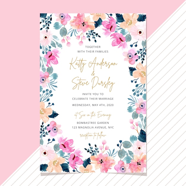 Wedding invitation card with watercolor floral frame Premium Vector