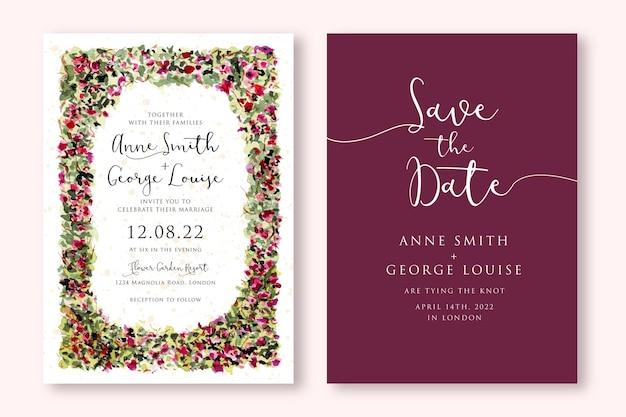 Свадебное приглашение с акварельной цветочной садовой рамкой Premium векторы