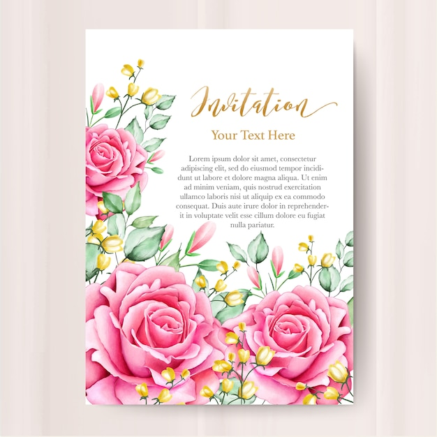 Wedding invitation card with watercolor floral template Premium Vector