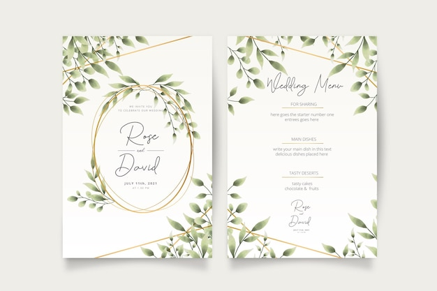 Wedding invitation card with watercolor leaves Free Vector