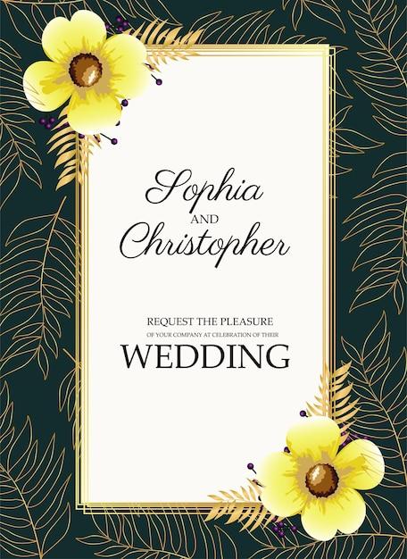 隅に黄色い花の結婚式の招待状 Premiumベクター