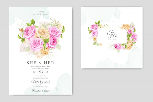 Wedding invitation card with yellow and pink roses template Premium Vector