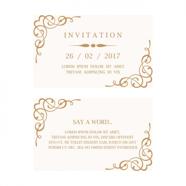 Elegant Wedding Invitation Card Free Vector